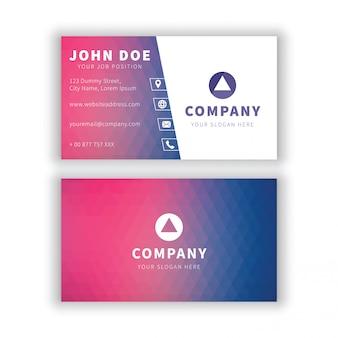 Modern paars blauw geometrisch visitekaartje
