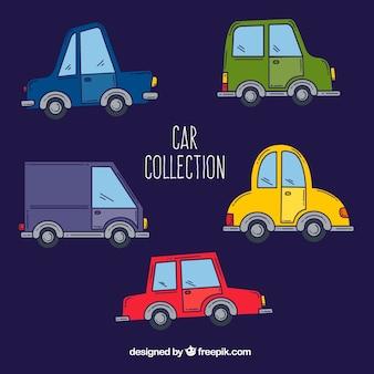 Modern pak met handgetekende auto's