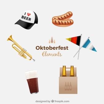 Modern pakket van realistische oktoberfest elementen
