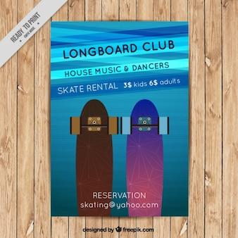 Modern partij flyer met skateboard