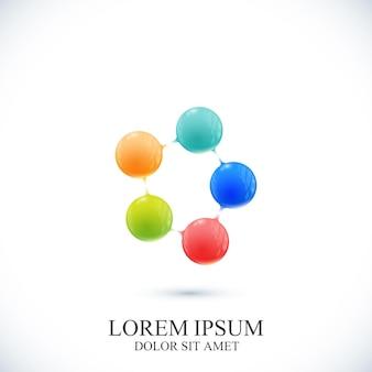 Modern pictogram dna en molecuul. sjabloon voor geneeskunde, wetenschap, technologie, chemie, biotechnologie