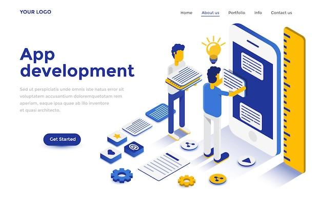 Modern plat isometrisch ontwerpconcept van app-ontwikkeling voor website en mobiele website. sjabloon voor bestemmingspagina's. gemakkelijk te bewerken en aan te passen. vector illustratie