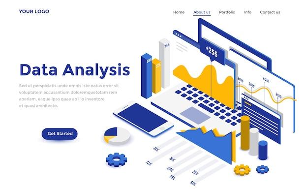 Modern plat isometrisch ontwerpconcept van gegevensanalyse voor website en mobiele website. sjabloon voor bestemmingspagina's. gemakkelijk te bewerken en aan te passen. vector illustratie