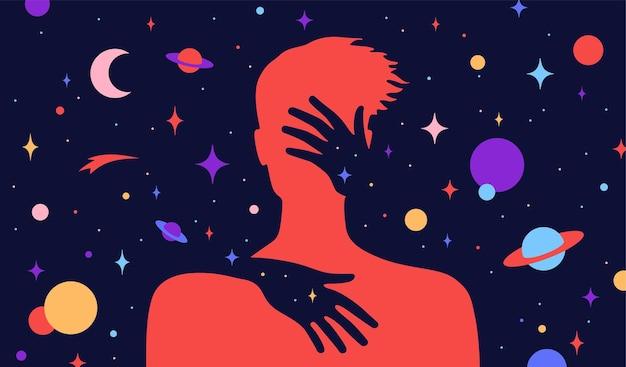 Modern plat karakter. vrouwelijke handen omhelzen een silhouet van de mens