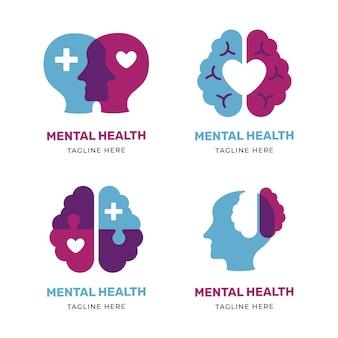 Modern plat logo-pakket voor geestelijke gezondheid