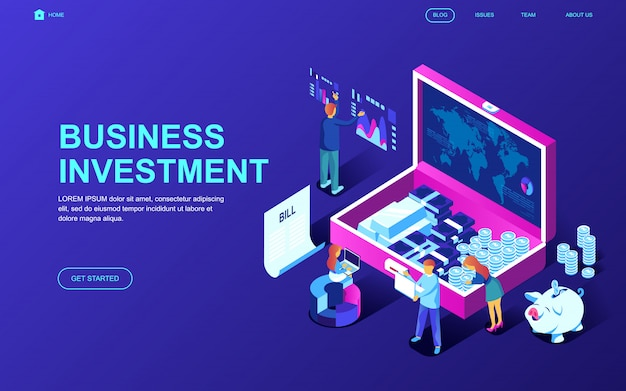 Modern plat ontwerp isometrisch concept van bedrijfsinvesteringen