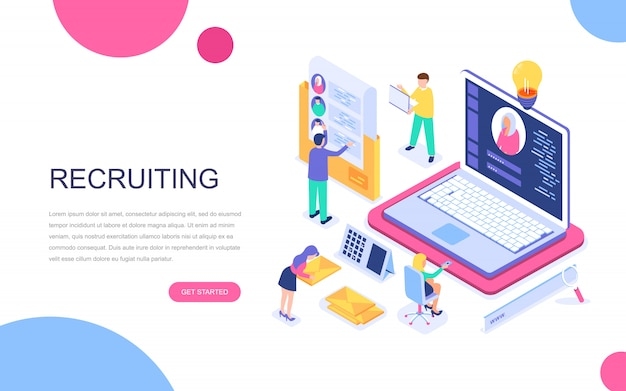 Modern plat ontwerp isometrisch concept van business recruiting