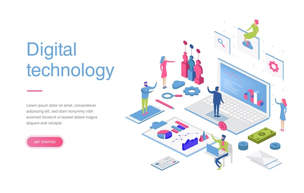 Modern plat ontwerp isometrisch concept van digitale marketing voor banner en website. isometrische bestemmingspagina sjabloon. bedrijfsanalyse, contentstrategie en management