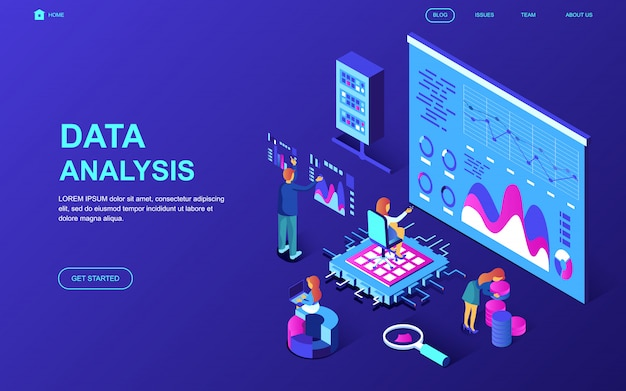 Modern plat ontwerp isometrisch concept van gegevensanalyse