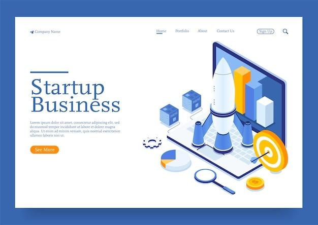Modern plat ontwerp isometrisch concept van start uw project op voor isometrisch websiteconcept