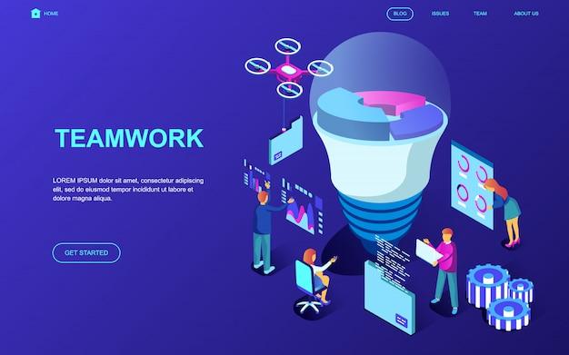 Modern plat ontwerp isometrisch concept van teamwork