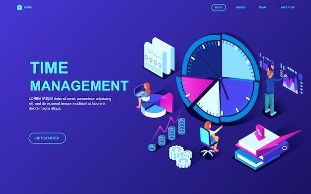Modern plat ontwerp isometrisch concept van time management