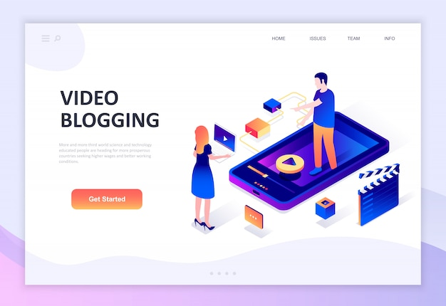 Modern plat ontwerp isometrisch concept van videoblogging