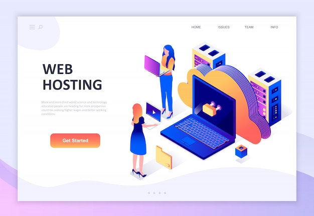 Modern plat ontwerp isometrisch concept van web hosting