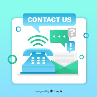 Modern plat ontwerp voor contact met ons op