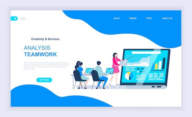 Modern plat ontwerpconcept analyse teamwerk