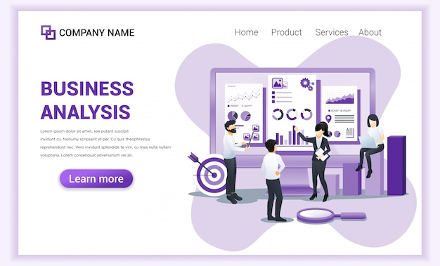Modern plat ontwerpconcept bedrijfsanalyse met karakters. auditing, financieel advies.