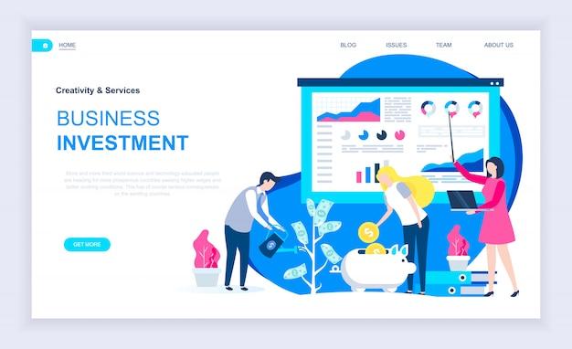 Modern plat ontwerpconcept van bedrijfsinvesteringen