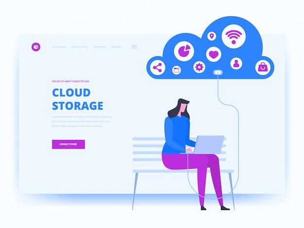 Modern plat ontwerpconcept van cloudtechnologie
