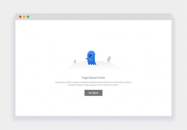 Modern plat ontwerpconcept van geest, pagina bestaat niet voor website en mobiele website. lege staten paginasjabloon