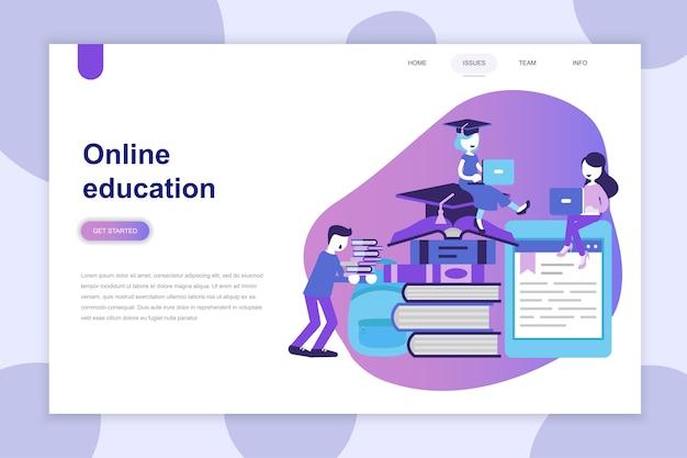 Modern plat ontwerpconcept van online onderwijs voor website