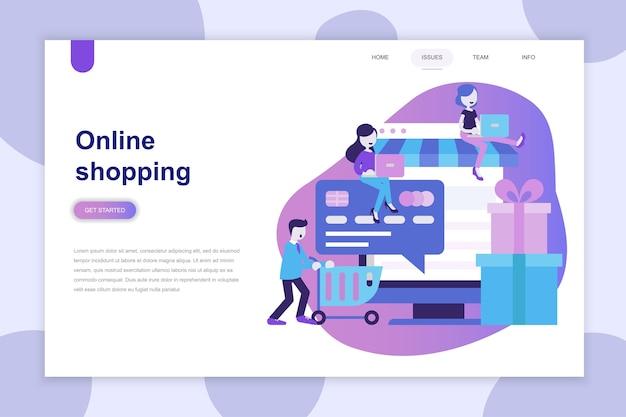 Modern plat ontwerpconcept van online winkelen voor website