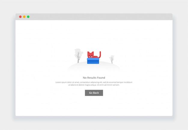 Modern plat ontwerpconcept van schattige kat in een doos, geen resultaat gevonden voor website en mobiele website. lege staten paginasjabloon