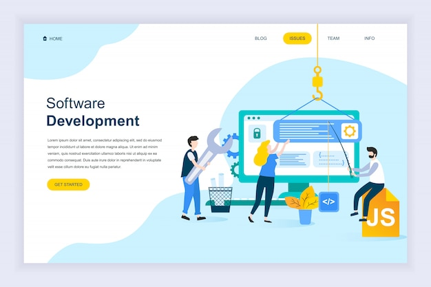 Modern plat ontwerpconcept van softwareontwikkeling
