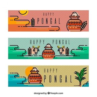 Modern pongal banners met stippen achtergrond