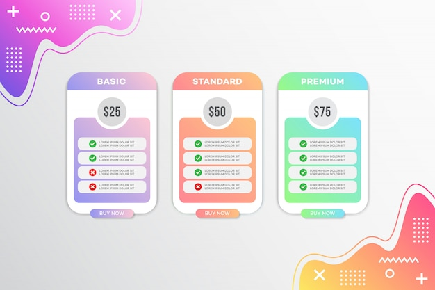 Modern prijslijst sjabloonontwerp