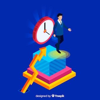 Modern productiviteitsconcept met isometrische mening