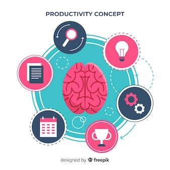 Modern productiviteitsconcept met vlak ontwerp