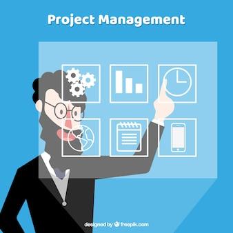 Modern projectmanagementconcept in vlakke stijl