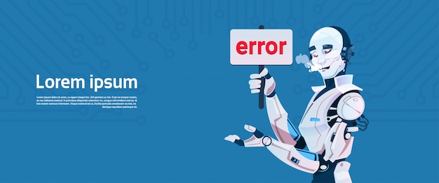 Modern robot show error message, futuristic artificial intelligence mechanism technology