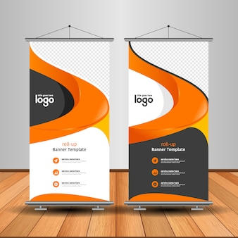 Modern roll-up banner met abstracte vorm