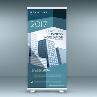 Modern roll up presentatie banner sjabloon met blauwe vormen