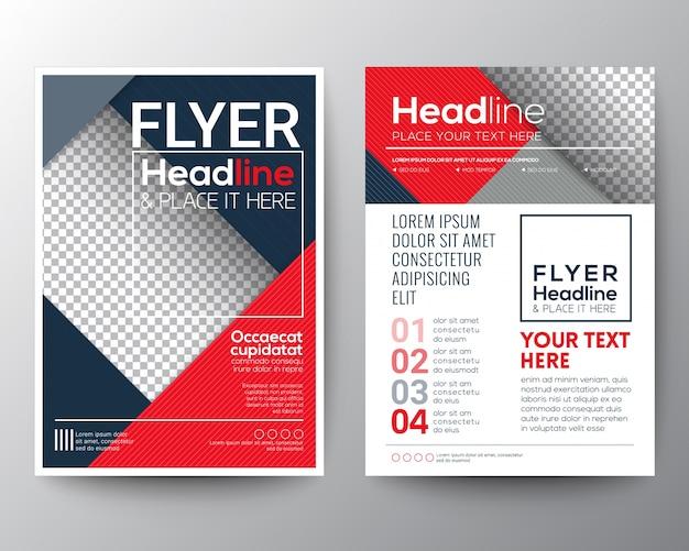 Modern rood en blauw business brochure flyer ontwerp lay-out sjabloon