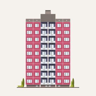 Modern roze geprefabriceerd paneelgebouw gebouwd in sovjet-architectonische stijl. buitenkant of gevel van woonhuis met balkons geïsoleerd