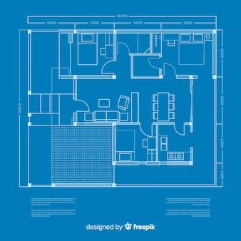 Modern schetsplan van blauwdrukhuis