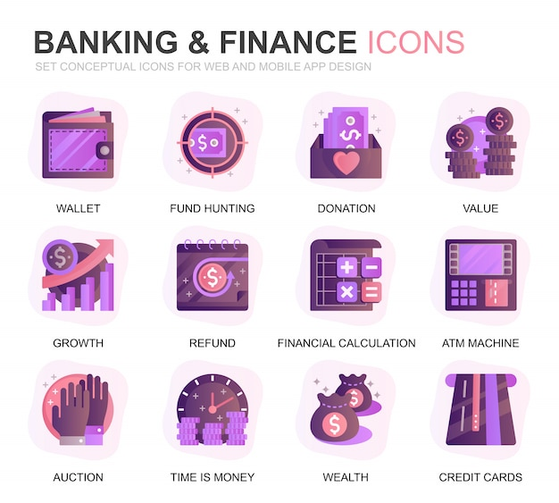 Modern set banking and finance gradient flat pictogrammen