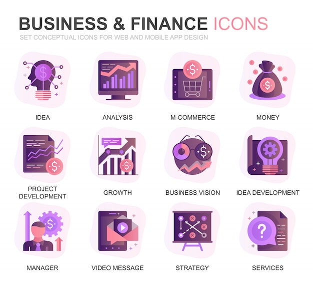 Modern set business en finance gradient plat pictogrammen