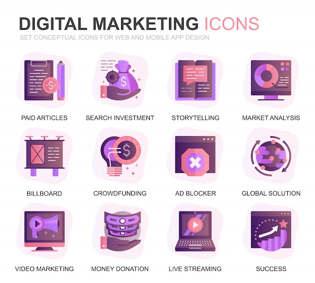 Modern set business en marketing gradient plat pictogrammen