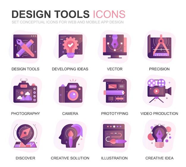 Modern set design tools verloop platte pictogrammen