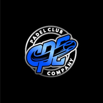 Modern set embleem padel club logo