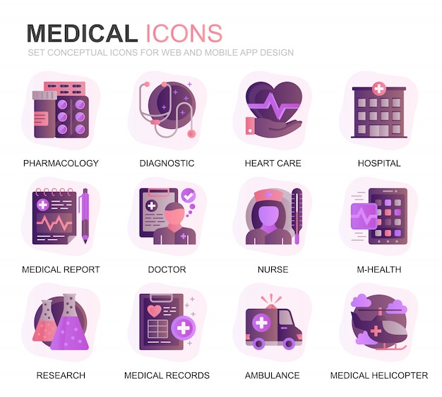 Modern set gezondheidszorg en medische gradiënt plat pictogrammen