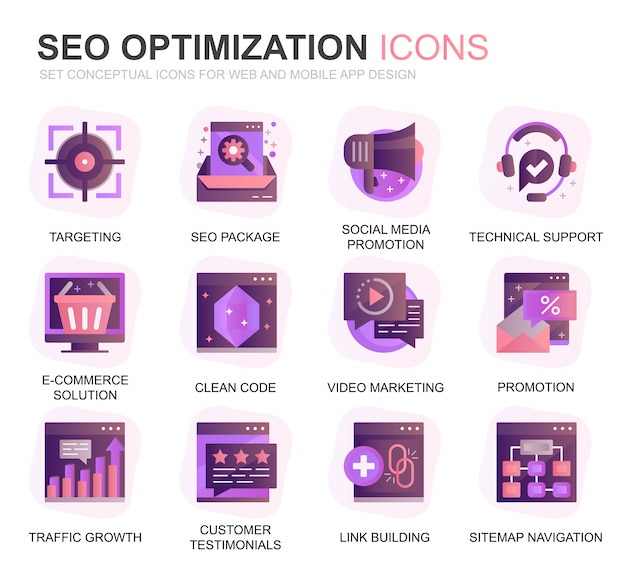 Modern set seo en web optimization gradient flat icons