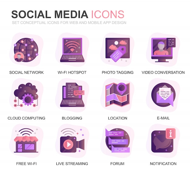 Modern set social media en network gradient flat icons