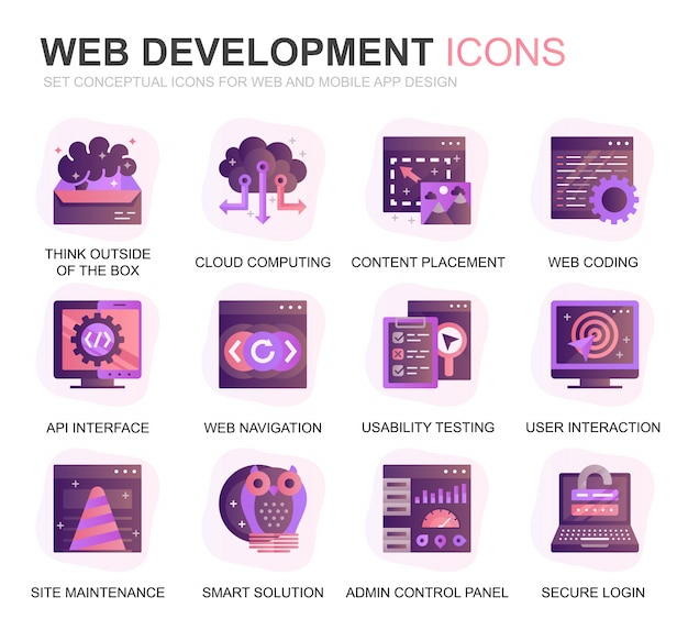 Modern set web disign en development gradient flat icons
