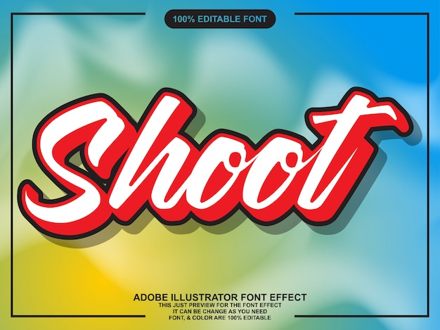 Modern shoot script bewerkbaar typografie lettertype effect
