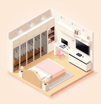Modern slaapkamerinterieur met meubels en huishoudelijke apparaten in isometrische stijl